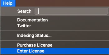 Select Help -> Enter License in Sublime Text 3