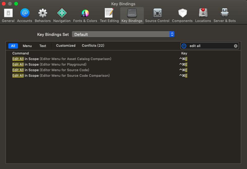 xcode edit all in scope key bingdings