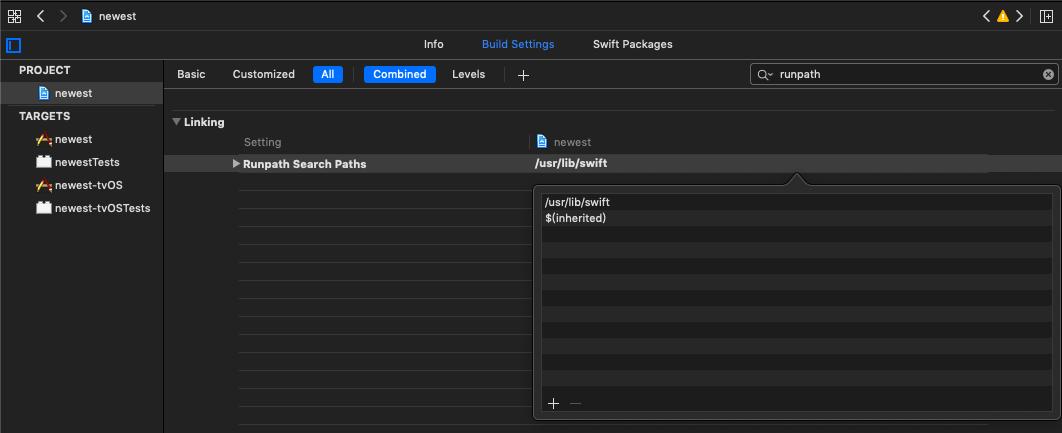 添加 LD_RUNPATH_SEARCH_PATHS