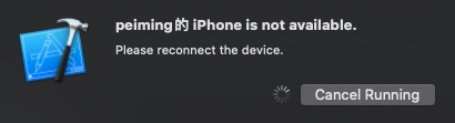 iPhone is not available. Please reconnect the device