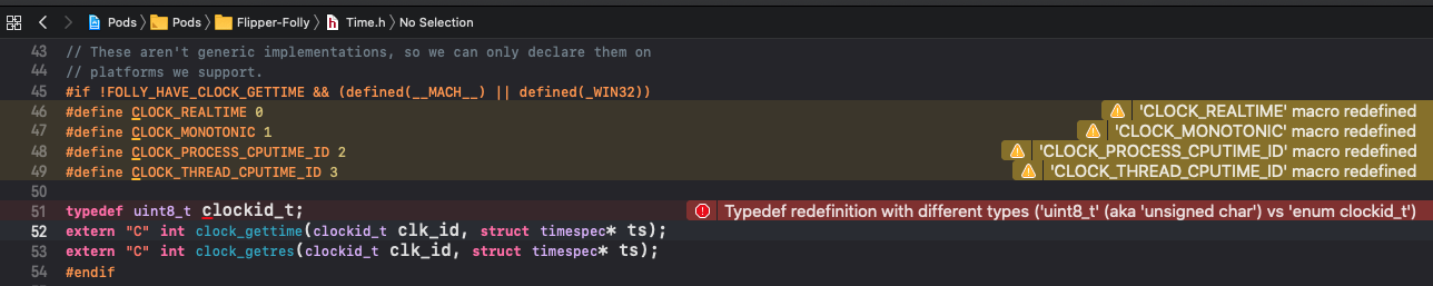 ios/Pods/Headers/Private/Flipper-Folly/folly/portability/Time.h:51:17: Typedef redefinition with different types ('uint8_t' (aka 'unsigned char') vs 'enum clockid_t')
