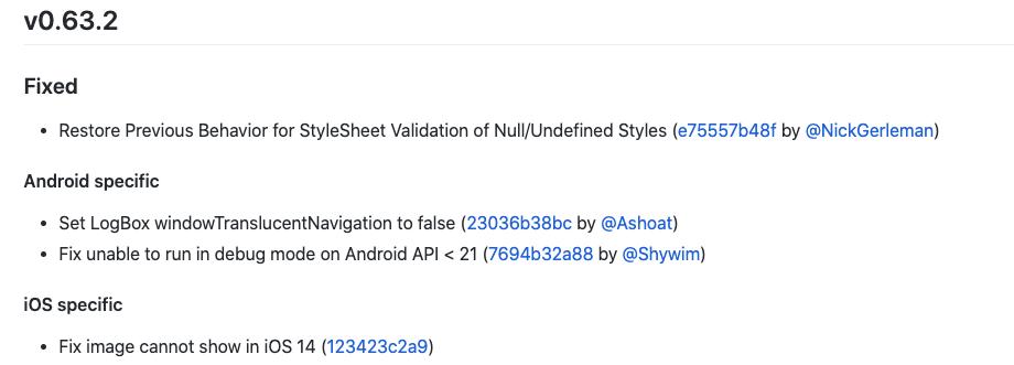 The Changelog of React Naitve v0.63.2