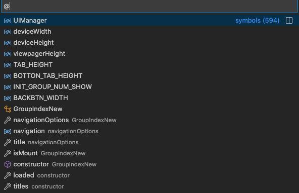 Visual Studio Code method list