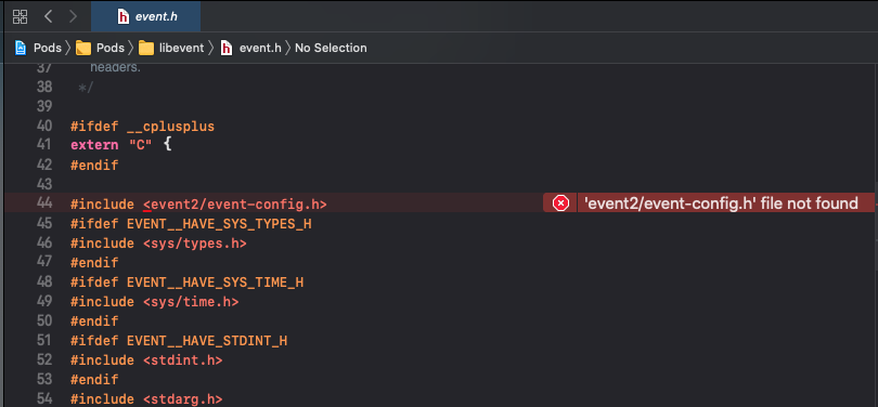 Xcode compile error: 'event2/event-config.h' file not found